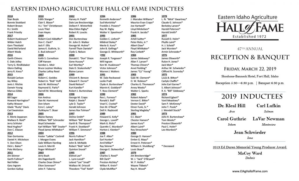 2019 EIAHoF Reception and Banquet Program - Exterior