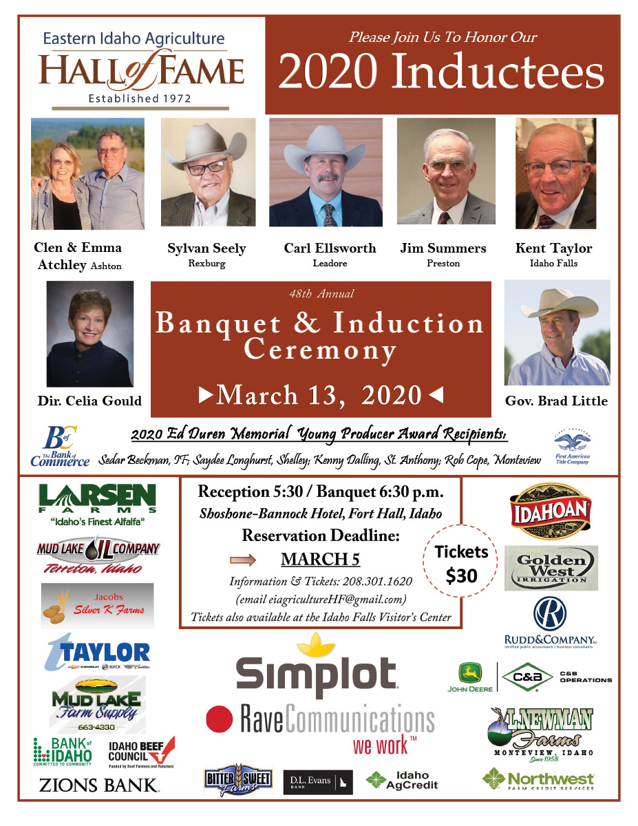2020 EIAHF Reception & Banquet Poster